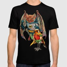 Bat and Robin Black Mens Fitted Tee LARGE