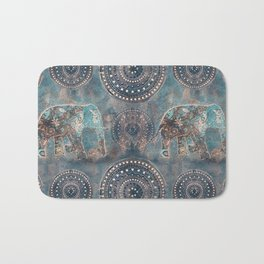Elephant Ethnic Style Pattern Teal and Copper Bath Mat