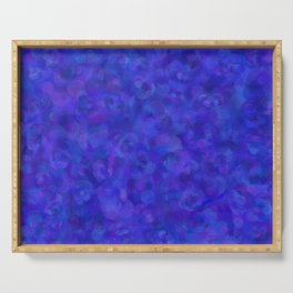 Royal Blue Floral Abstract Serving Tray