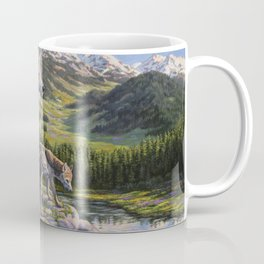 Mother Gray Wolf and Pups River Valley Coffee Mug