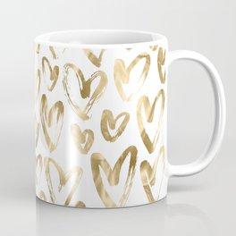 Gold Love Hearts Pattern on White Coffee Mug