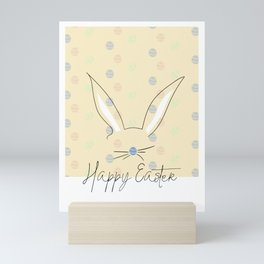 Happy Easter Postcard Bunny Ears #eastergift Mini Art Print