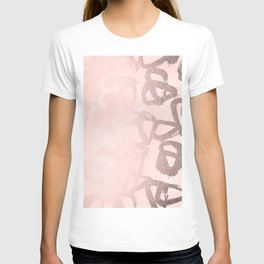 Rose Gold Pastel Pink Geometric Triangles T-shirt