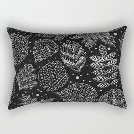 Silver Metal Embossed Leaf Pattern Rectangular Pillow