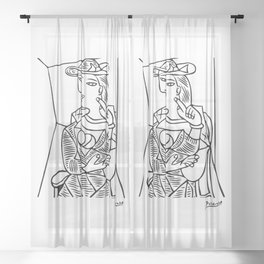 Pablo Picasso Seated Woman Artwork, Posters, Prints, TShirts, Reproduction Sketch, Men, Women, Kids Sheer Curtain
