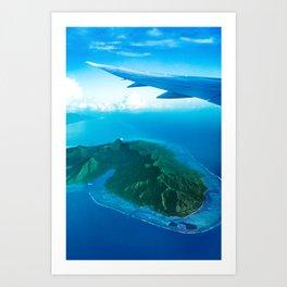 Travel vacation flying over bora bora Art Print