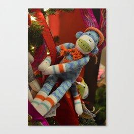 Blue Sock Monkey Canvas Print