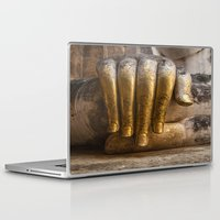 buddhism Laptop & iPad Skins featuring Golden Hand of a Buddha in Wat Sri Chum Thailand by Maria Heyens