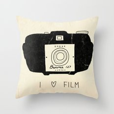 I Love Film Throw Pillow