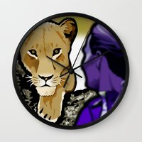 lesbian Wall Clocks featuring The Lesbian & the Lioness by BinaryGod.com
