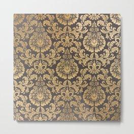 Gold swirls damask #8 Metal Print
