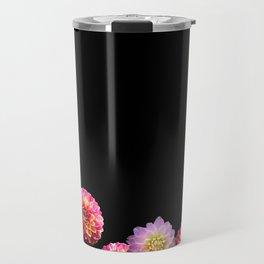 Dahlias on Black Travel Mug