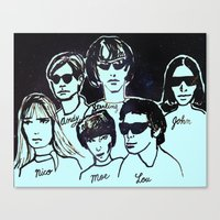 velvet underground Canvas Prints featuring Velvet Underground with Andy Warhol in Space by June Chang Studio