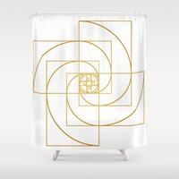 fibonacci Shower Curtains featuring Golden Pinwheel by Melek Design