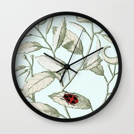Noli me tangere- ladybird on leaf Wall Clock