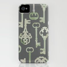Skeleton Key Pattern in Gray iPhone (4, 4s) Slim Case