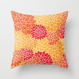 Dahlia Flowers, Petals, Blossoms - Orange Red Throw Pillow