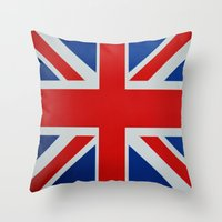 union jack Throw Pillows featuring Union Jack by MICHELLE MURPHY