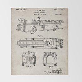 Fire Truck Patent - Aerial Fireman Truck Art - Antique Throw Blanket