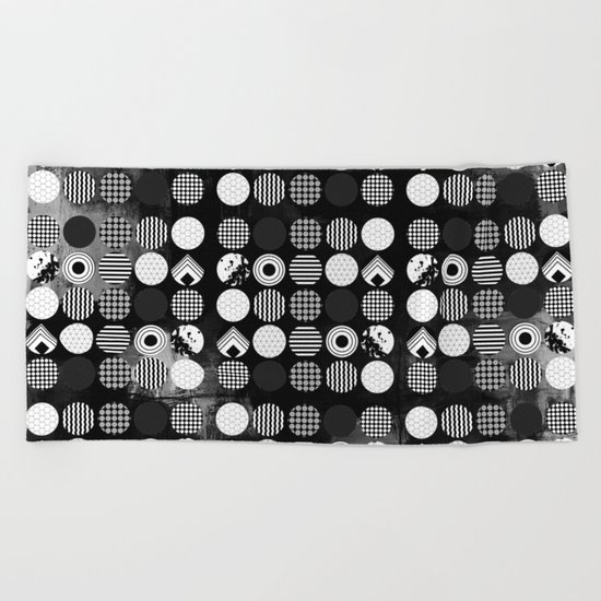 Hectic Geometric On Textured Black And White Beach Towel