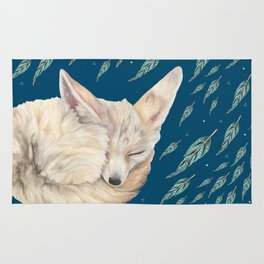 Fennec Fox Feather Dreams in Turquoise Rug