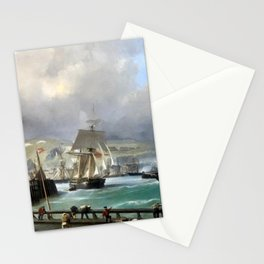 A Breezy Day Off Dover Harbour seascape nautical painting by Julius Hintz Stationery Cards