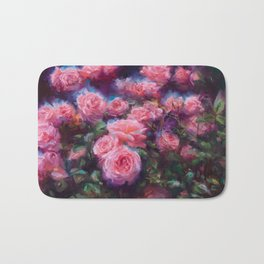 Out of Dust, impressionist pink roses Bath Mat