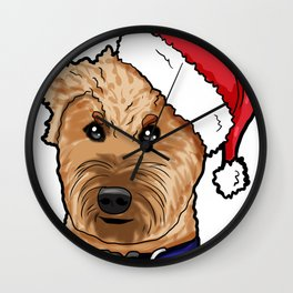 Irish Soft Coated Wheaten Terrier Dog Christmas Hat Wall Clock