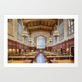 Antique gothic library hall with baroque chandeliers library room aesthetic goals Art Print