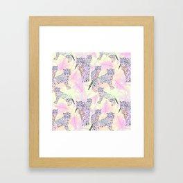 Blush pink lavender ivory tropical leopard pattern Framed Art Print