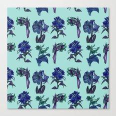 Botanical Flower Pattern   Blue Canvas Print