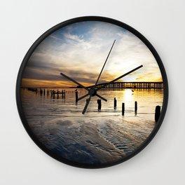 Biloxi Bay Sunset Wall Clock