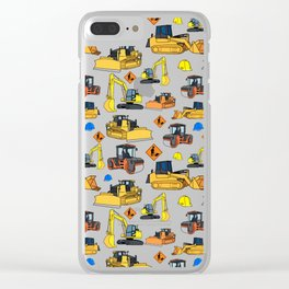 Construction Vehicles Pattern Clear iPhone Case
