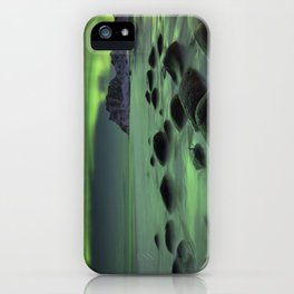 Aurora borealis over a beach on the Lofoten in Norway iPhone Case