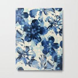 Shibori Inspired Oversized Indigo Floral Metal Print