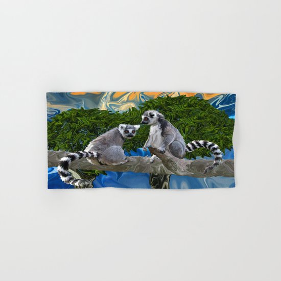 Playful Lemur-ick  Hand & Bath Towel