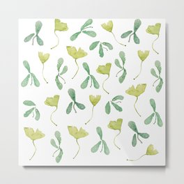 """Watercolor Painting of Picture """"Green Leaves"""" Metal Print"""