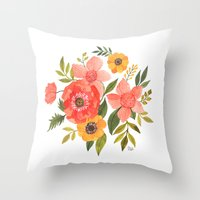 power Throw Pillows featuring FLOWER POWER by Oana Befort