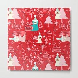 Santa Claus Cute Sloth Christmas pattern Red #christmas Metal Print