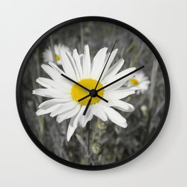 yellow columbine blossom, black white gray still life beautiful big floral pattern Wall Clock