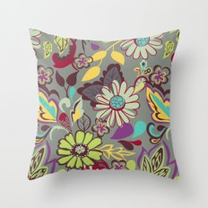 Large Bright Blooms Throw Pillow