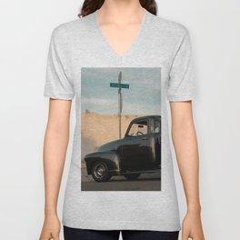 Black Vintage Truck Unisex V-Neck