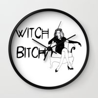 coven Wall Clocks featuring Witch Bitch by Margret Stewart