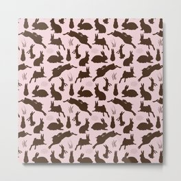 Rabbit Pattern | Rabbit Silhouettes | Bunny Rabbits | Bunnies | Hares | Pink and Brown | Metal Print