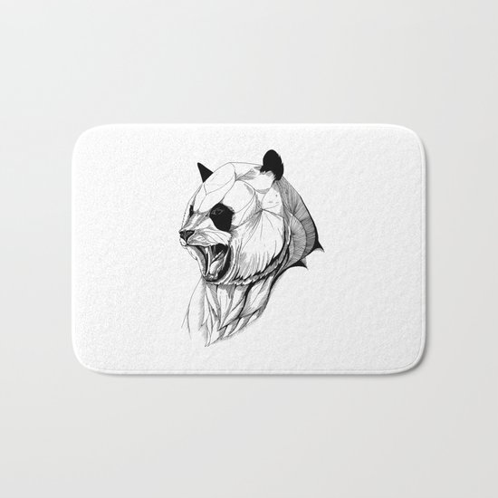Angry panda (black stroke version for t-shirts) Bath Mat