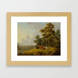 IBBETSON, JULIUS CEASAR (Farley Moor 1756 - 1817 Masham) Woodland and river landscape with cows. 180 Framed Art Print
