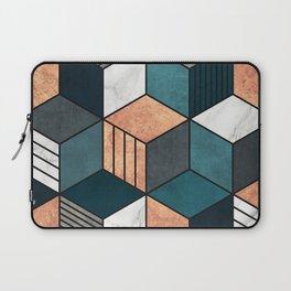 Copper, Marble and Concrete Cubes 2 with Blue Laptop Sleeve