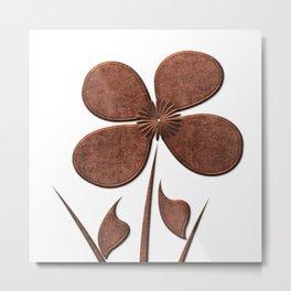 Copper Linen Floral Pattern Metal Print