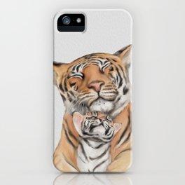 tiger and cub, motherhood,Tiger cub, Jungle animals, Nursery wall art iPhone Case