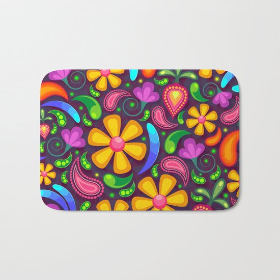 Brightly Colored Yellow Floral Pattern Bath Mat